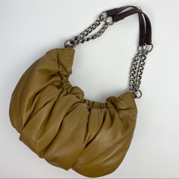 VTG Y2K Brown Leather Pillow Shoulder Bag